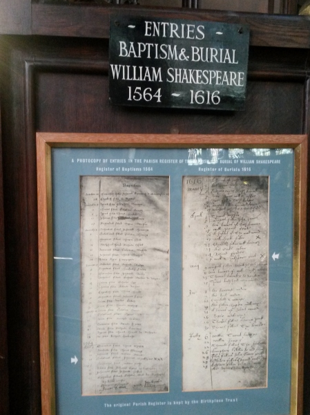 William Shakespeare's Baptism and Death records