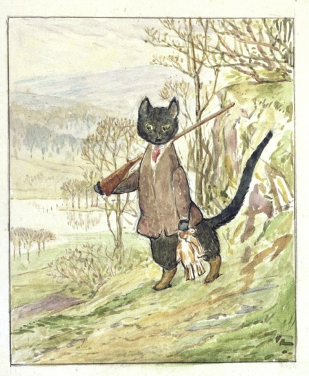 Beatrix Potter's original illustration for the story The Kitty-in-Boots