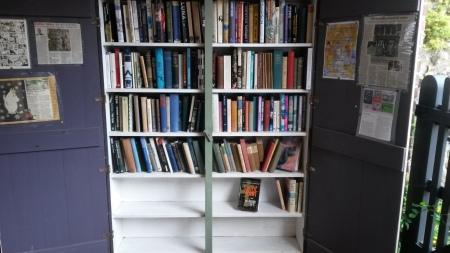 Bookshelves outside the shop