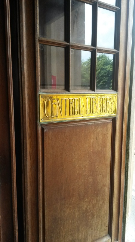 Brass door sign for Bristol Central Library